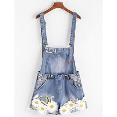 SheIn(sheinside) Embroidered Appliques Cuffed Denim Overall Shorts ($20) ❤ liked on Polyvore featuring blue and short overalls