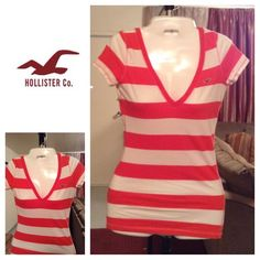 "Hollister Striped Top Hollister Striped Top is made of 100% Cotton. Stylish and Comfortable. Fits great. Size XS. The color is Orange/White Stripes. Laying flat ""14. Length ""25. This item is in Good condition, Authentic and from a Smoke And Pet free home. All Offers through the offer button ONLY. I Will not negotiate Price in the comment section. Thank You😃 Hollister Tops"