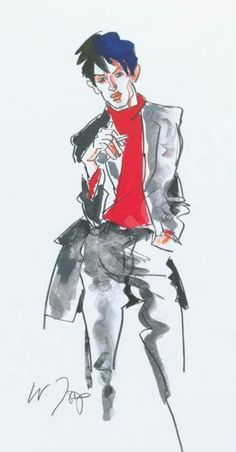 Fashion illustration by Joop Wolfgang, Man with red sweater, Gray suit, crayon, watercolor and gouache. Fantasy Concept Art, Sketch Books, Illustration Fashion, Sketch Inspiration, Men Fashion, Fashion Design, Vintage Illustrations, Red Sweaters, Fashion Sketches