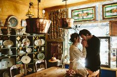 For the artsy and vintage couple - these engagement photos were taken in an antique store.
