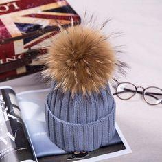 Women Hat Fur Velvet Knitted Fashion Removable Pompon raccoon fur Hats #LFS #Beanie #Casual