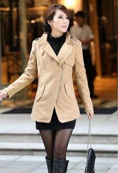 Oblique Stylsih Zip Lapel Jacket