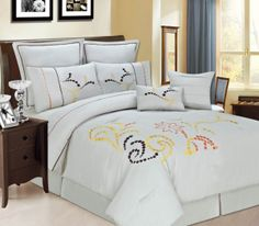 """12pc Luxury Bed in a Bag- Copper Ridge Beige. 12pc Luxury Bed in a Bag- Copper Ridge Beige Update your bedroom décor with this contemporary decorative bedding ensemble. This comforter set features a light beige background with pops of gold, orange and brown in a beautiful dot pattern. Queen Size Set Includes:1 Comforter 90""""x92""""2 Standard Shams 21""""x27""""1 Bed Skirt 60""""x80""""+14""""2Decorative Pillows2 Euro Shams 26""""x26""""600 Thread Count Sheet Set:1 Flat Sheet 91""""x105""""1 Fitted Sheet 60""""x80""""x16""""2…"""