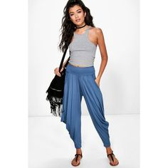 Boohoo Valencia Oversized Slouchy Hareem Trousers ($16) ❤ liked on Polyvore featuring pants, denim, tailored pants, wide leg palazzo pants, basic white t shirt, sports pants and sport pants
