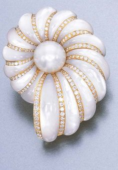 A CULTURED PEARL, DIAMOND AND MOTHER-OF-PEARL BROOCH, BY FARAONE Designed as a…                                                                                                                                                                                 More