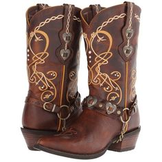 Durango Crush Cowgirl Boot (Brown) Cowboy Boots ($170) ❤ liked on Polyvore featuring shoes, boots, cowboy boots, mid-calf boots, mid heel boots, brown cowboy boots, studded cowboy boots, mid calf cowboy boots and studded cowgirl boots