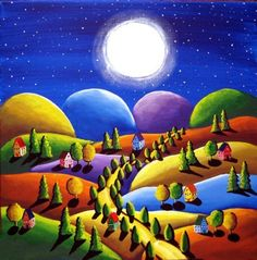 Paz en la tierra Folk Art paisaje arte popular pintura colorida Original