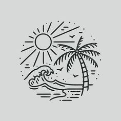 Pin By Kai On Wallpapers Drawings Beach Drawing Easy Doodle Art, Doodle Drawings, Easy Drawings, Tattoo Drawings, Pencil Drawings, Tattoo Illustrations, Doodle Ideas, Doodle Inspiration, Tattoo Sketches