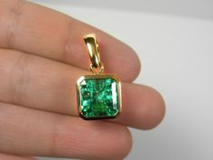 7-50cts-AAAA-COLOMBIAN-SQUARE-EMERALD-SOLITAIRE-PENDANT-EMERALD-CUT-18K-GOLD