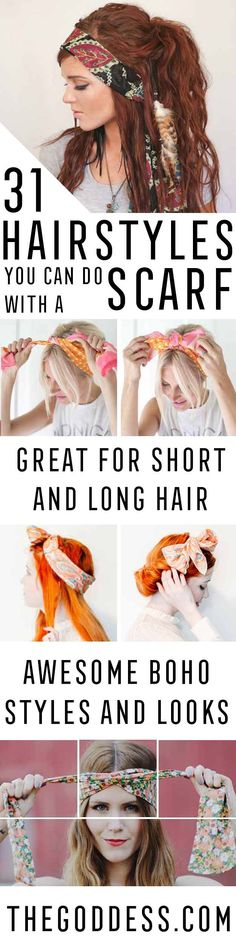 31 Ideas For Hair Styles Long Thick Hair Wraps - ideas Plus Bandana Hairstyles, Casual Hairstyles, Hairstyles With Bangs, Goddess Hairstyles, Hairstyles Videos, Headbands For Short Hair, Short Hair With Bangs, Hair Bangs, Thick Hair