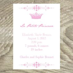 Baby or Birth Announcement  Elegant Princess Crown by OldPaperAndPrints, $13.50