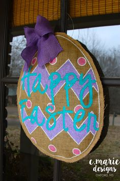 This Door Hanger is so cute for Easter or any time of the year!! It is hand painted on burlap and slightly stuffed to give it some shape. It is stitched together to make a stronger seal and a finished no fray edge. It hangs on your door with a wire attached to the back. The door