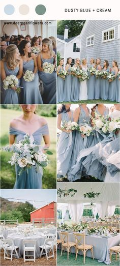 Dusty blue and cream greenery wedding color palette idea