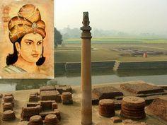 Ashoka the Great and an Ashoka Pillar at Tilaurakot, Lumbini, Nepal
