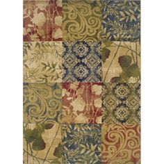 @Overstock - A distinctive geometric block rug that is accentuated by a leaf and abstract patterns in a durable machine-woven stain resistant construction.  Hues of beige, green, blue and red make this rug a beautiful addition to any home.http://www.overstock.com/Home-Garden/Indoor-Beige-Geometric-Area-Rug-710-x-10/5804457/product.html?CID=214117 $138.19