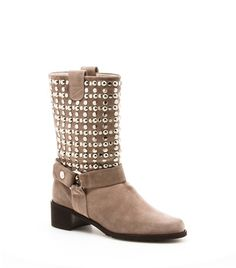 "MOTO | Stuart Weitzman  Love the neutral color much better than the black! Balances the 300 metal studs so it looks more fashion and less 'biker'  Luxe hand-tumbled vecchio nappa with over 300 metal studs and stacked leather heel           Pull on      1¾"" heel      Vecchio nappa      Leather footbed      Made in Spain"