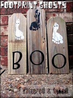 Footprint ghosts - would love to do this with wood painted orange and one footprint from each kiddo...