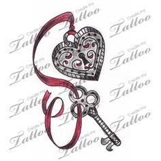 Marketplace Tattoo Vintage Heart Locket and Key Tattoo #3135 | CreateMyTattoo.com