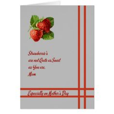 Card for Mother's Day with Strawberries - love cards couple card ideas diy cyo