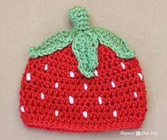 Crochet Strawberry Hat Pattern - Repeat Crafter Me