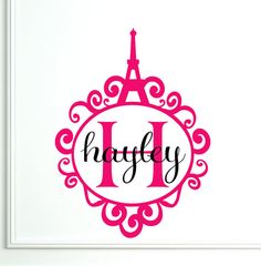 www.etsy.com   Personalized Wall Decal Monogram Paris Eiffel Tower by decalhappy. You can also customize the colors.