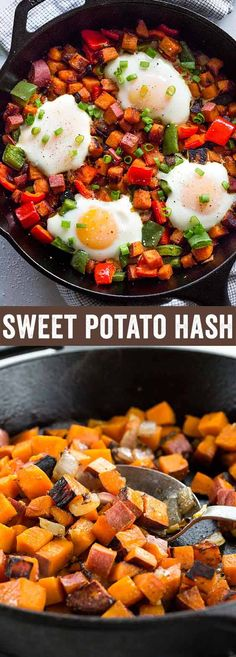 Healthy sweet potato hash with eggs is a simple to prepare breakfast made in one pan. Sauteed potatoes and bell peppers are seasoned with smoked paprika for a savory flavor. Over easy eggs are baked right in the skillet for extra protein. via @foodiegavin