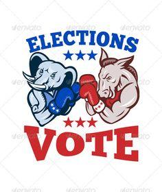 Democrat Donkey Republican Elephant Mascot Electio