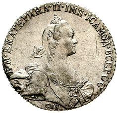 Catherine II. 1762-1796. Rouble 1769 St. Petersburg approximate Mmz. TI. Bitkin 206, Uzdenikov 1020. extremley fine