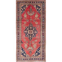 Isabelline One-of-a-Kind Ahkeem Hand-Knotted Red/Navy x Runner Wool Area Rug Wool Area Rugs, Blue Area Rugs, Southwestern Decorating, Tribal Rug, Power Loom, Woven Rug, Persian Rug, Iran, Decor Styles