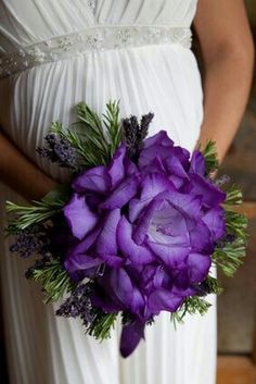 Glamelia/Composite Bouquet Of Purple Gladiolus Along With Lavender & Evergreen Foliage