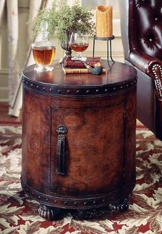 Butler Tuscan Old World Map Drum Table Duffel Furniture Living Room