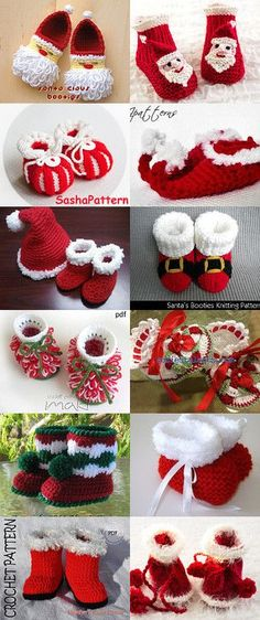 Christmas Baby Booties Red Boo