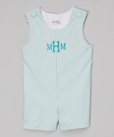 Love this Blue Stripe Monogram Shortalls - Infant & Toddler by Lollypop Kids Clothing on #zulily! #zulilyfinds
