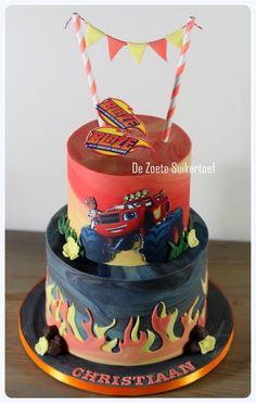 Used for the flames is a 'Not just cakes by annie cutter'. Used for the flames is a 'Not just cakes by annie cutter'. Torta Blaze, Bolo Blaze, Blaze Cakes, Blaze Birthday Cake, 4th Birthday Cakes, Birthday Cup, Disney Cars Cake, Disney Cakes, Just Cakes