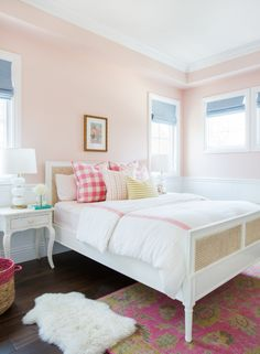 Pink Girl Bedroom with Love & Happiness pink walls by Benjamin Moore. Come see the Best Sophisticated, Chic and Subtle Pink Paint Colors on Hello Lovely Studio! Teenage Girl Bedroom Designs, Pink Bedroom For Girls, Teenage Girl Bedrooms, Little Girl Rooms, Pink Room, Light Pink Bedrooms, Ladies Bedroom, Black Bedrooms, Pink Paint Colors