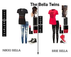 """""""The Bella Twins"""" by haileywwe ❤ liked on Polyvore featuring Vero Moda, Converse, With Love From CA, Lord & Berry, Butter London, Marc by Marc Jacobs and Valentino"""