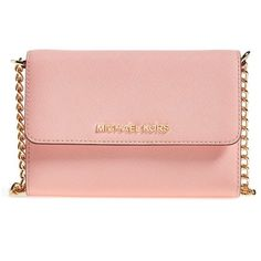 MICHAEL Michael Kors 'Jet Set - Large Phone' Saffiano Leather... ($168) ❤ liked on Polyvore featuring bags, handbags, shoulder bags, pale pink, pink shoulder bag, pink purse, pale pink purse, crossbody purse and chain handle handbags