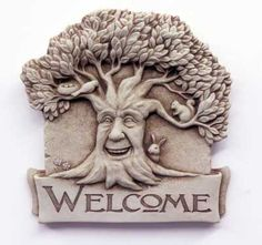 Welcome guests to your home with the Carruth Studio Woodland Welcome Outdoor Wall Plaque . This handsome piece is crafted with weatherproof cast stone. Clay Wall Art, Clay Art, Metal Wall Art, Wall Sculptures, Lion Sculpture, Snow Sculptures, Totems, Concrete Stone, Cast Stone