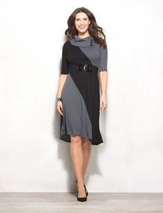 Switch it up from the everyday workwear look and rock this amazing colorblock sweater dress! With chic button details and a waist belt that flatters your figure, you're sure to be scoring compliments at the office. Imported.