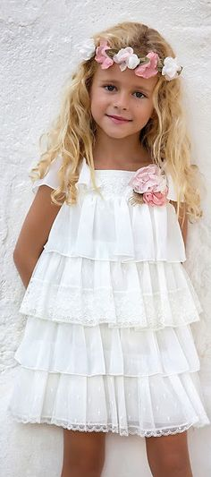 2020 Girl's Evening Dress White Short Layered Tulle Skirt With Flower Accessory - Evening Dresses Little Girl Fashion, Little Girl Dresses, Fashion Kids, Flower Girl Dresses, Girls Evening Dresses, Girls Dresses, Baby Dress, The Dress, Kids Frocks