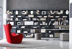 B&B Italia system bookcase FLAT.C by Antonio Citterio / interior decor & styling Living Tv, Living Room, Muebles Living, Italia Design, Shelf Design, Elle Decor, Interiores Design, Contemporary Furniture, Bookshelves