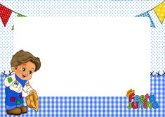 Convite Festa Junina Azul Princess Peach, Family Guy, Cards, Fictional Characters, Gabriel, Lugares, Photos, Fantasy Characters, Maps