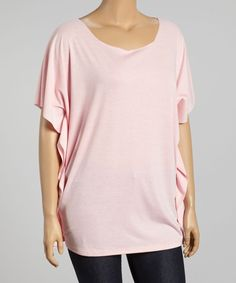 Light Pink Scoop Neck Cape-Sleeve Top - Plus
