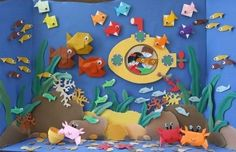 Study works Under the Sea Decoration Creche, Board Decoration, Class Decoration, School Decorations, Summer Crafts For Toddlers, Diy For Kids, Under The Sea Decorations, Under The Sea Theme, Under The Sea Crafts