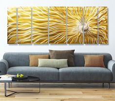 Sunflower Burst XL - Huge Modern Handpainted Gold/Silver Wall Art by Jon Allen - 96 x Burst XL - Huge Modern Handpainted Gold/Silver Wall Art by Jon Allen This stunning metal wall sculpture is my fresh and innovative style of organic m Flower Painting Images, Acrylic Painting Flowers, Abstract Flowers, Yellow Wall Art, Yellow Walls, Yellow Accents, Modern Metal Wall Art, Modern Art, Contemporary