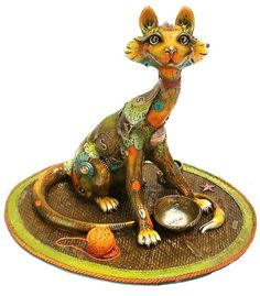 "www.artshopnc.com   ""Lucy with Rug"" Nanimals Medium Size Sculptures"