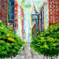 Colorful city with empty street. Original oil painting by Lubosh Valenta Art Oil, Surrealism, Empty, Colorful, Fantasy, Abstract, Street, Gallery, Artist