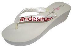 Wedding Flip Flops Bridesmaid Bridesmaid Bridal Flip Flops Bride Bling Glitter Wedge Wedding Platform Sandals Satin Flip Flops Shoes >>> To view further for this item, visit the image link.