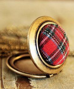 Vintage red plaid button locket....