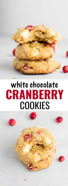 Healthier cranberry white chocolate chip cookies recipe with fresh cranberries. The perfect seasonal Christmas cookie bursting with flavor! #cranberry #whitechocolate #cookies #christmas #dessert
